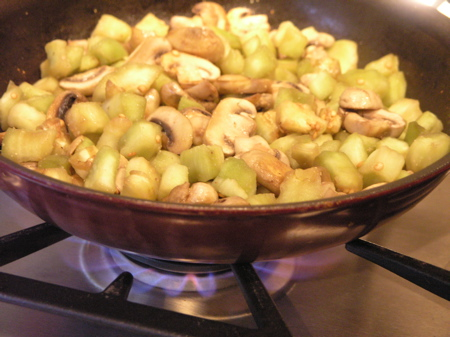 Mushrooms and Eggplant Sautéeing