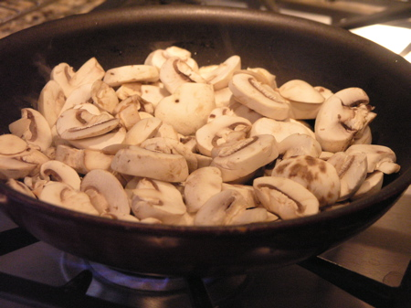 Mushrooms sautéeing