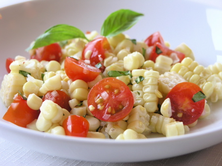 Corn Salad with Tomatoes &#038; Basil
