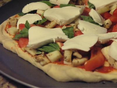 Fresh Mozzarella on the Pizza