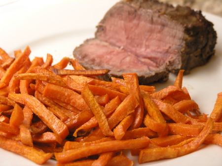 Sweet Potato French Fries with Roast Beef