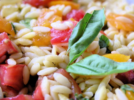 Orzo Salad with Heirloom Tomatoes and Basil