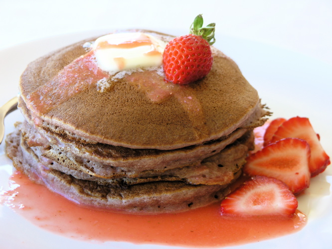 Strawberry Coulis Infused Pancakes