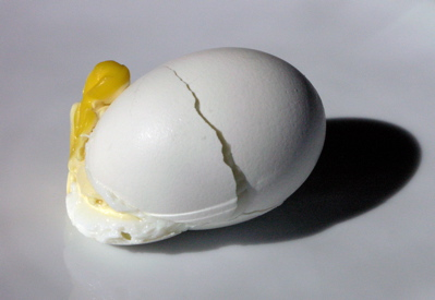 Hard Boiled Egg Exploded in the Boiling Water